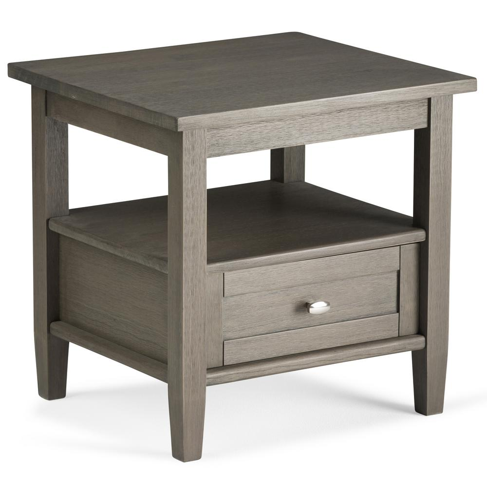 Simpli Home Warm Shaker Farmhouse Grey Storage End Table