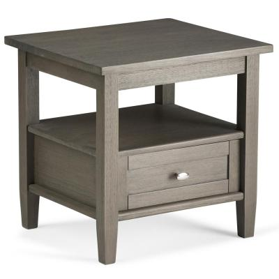 Warm Shaker Solid Wood 20 in. Wide Rustic End Side Table in Farmhouse Grey