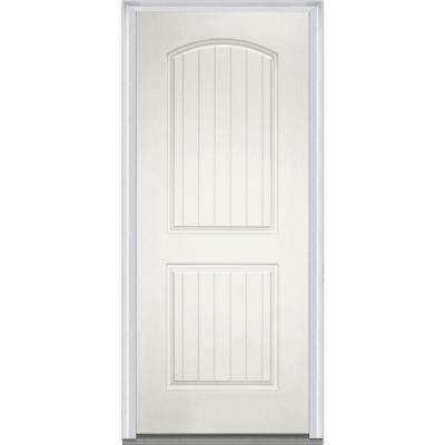 32 in. x 80 in. Right-Hand 2-Panel Arch Planked Primed White Fiberglass Smooth Severe Weather Prehung Front Door