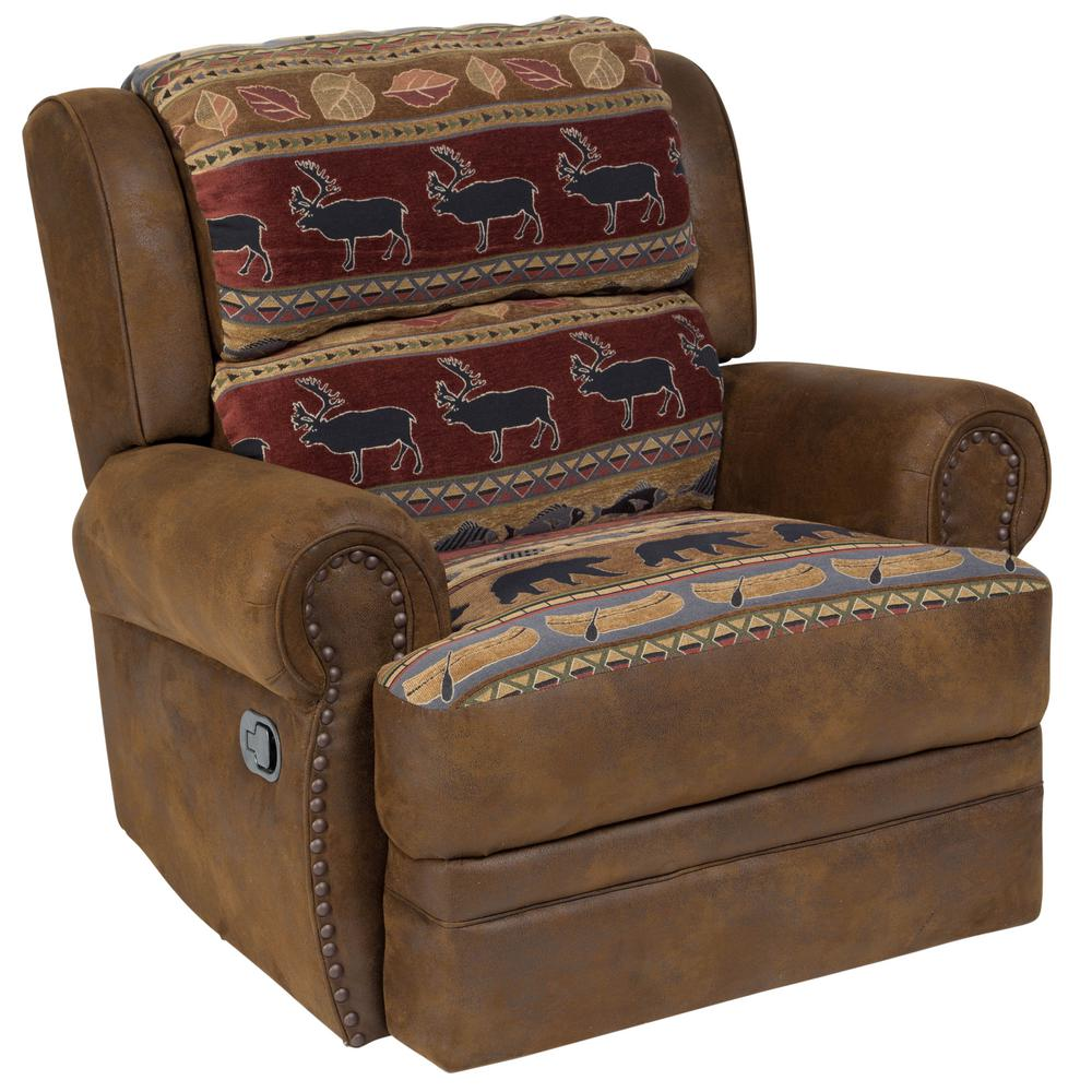 Hunter Wildlife Pattern Transitional Recliner with Nailheads
