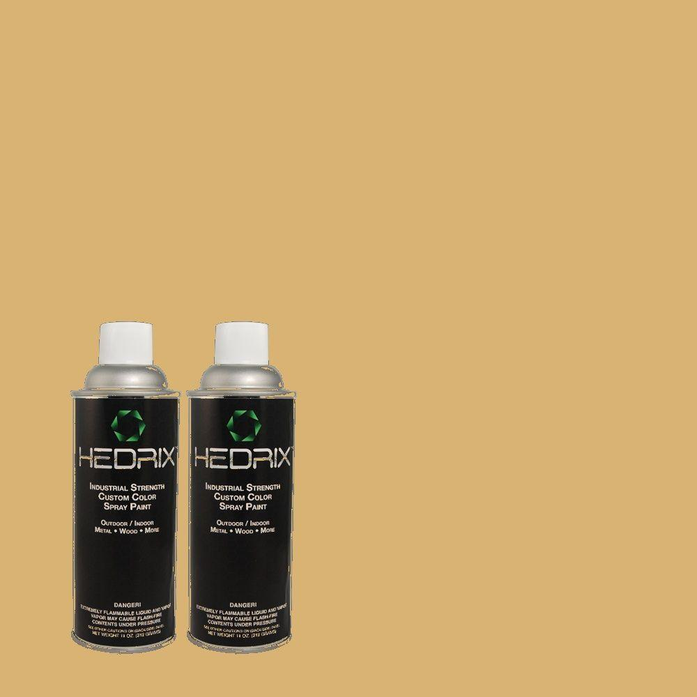 Hedrix 11 oz. Match of PPU6-15 Romanesque Gold Gloss Custom Spray Paint (2-Pack)