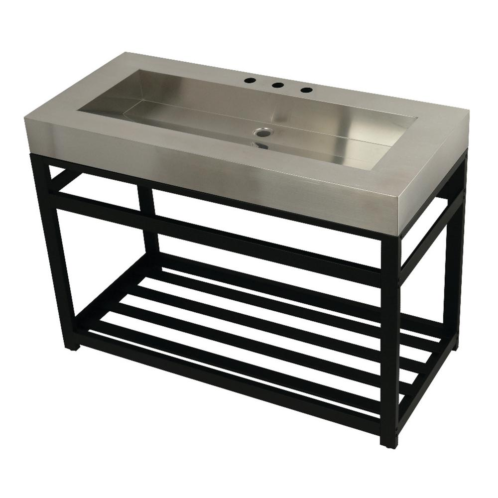 Kingston Brass 49 in. W Bath Vanity in Matte Black with Stainless Steel Vanity Top in Silver with Silver Basin