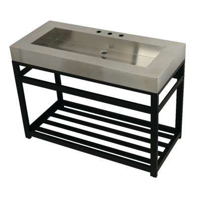 49 in. W Bath Vanity in Matte Black with Stainless Steel Vanity Top in Silver with Silver Basin