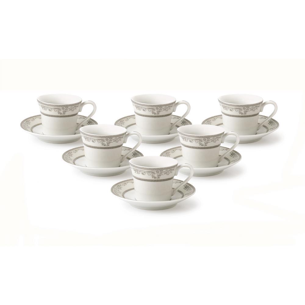 Lorren Home 2 oz. Porcelain Espresso Set Service for 6-Silver Floral
