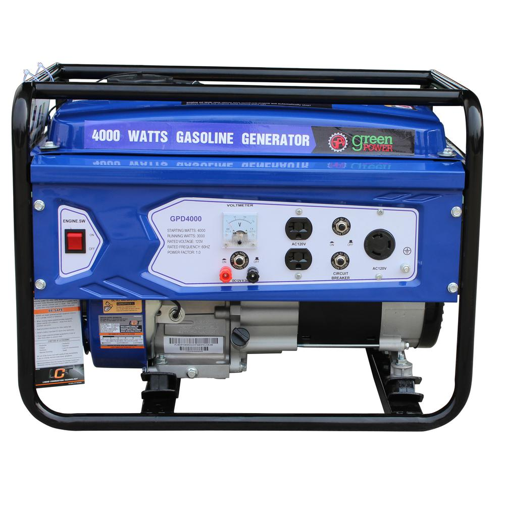 Green Power 4000/3000-Watt Gasoline Powered Recoil Start Portable Generator with