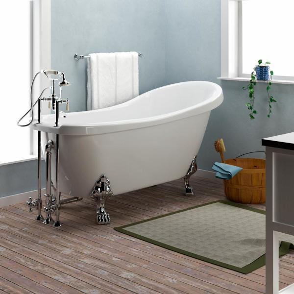 Barclay Products Foster 61 In Acrylic Slipper Clawfoot Non Whirlpool Bathtub In White With Faucet Holes And Oil Rubbed Bronze Feet Ats7h61lp Whorb The Home Depot