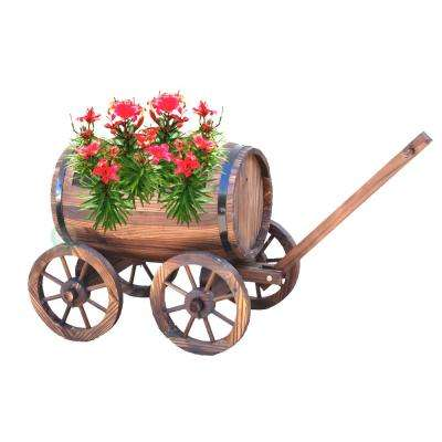 35.4 in. W x 15 in. D x 20 in. H Wood Large Barrel Wagon Planter