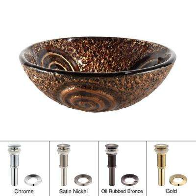 Luna Glass Vessel Sink in Brown with Pop-Up Drain and Mounting Ring in Oil Rubbed Bronze