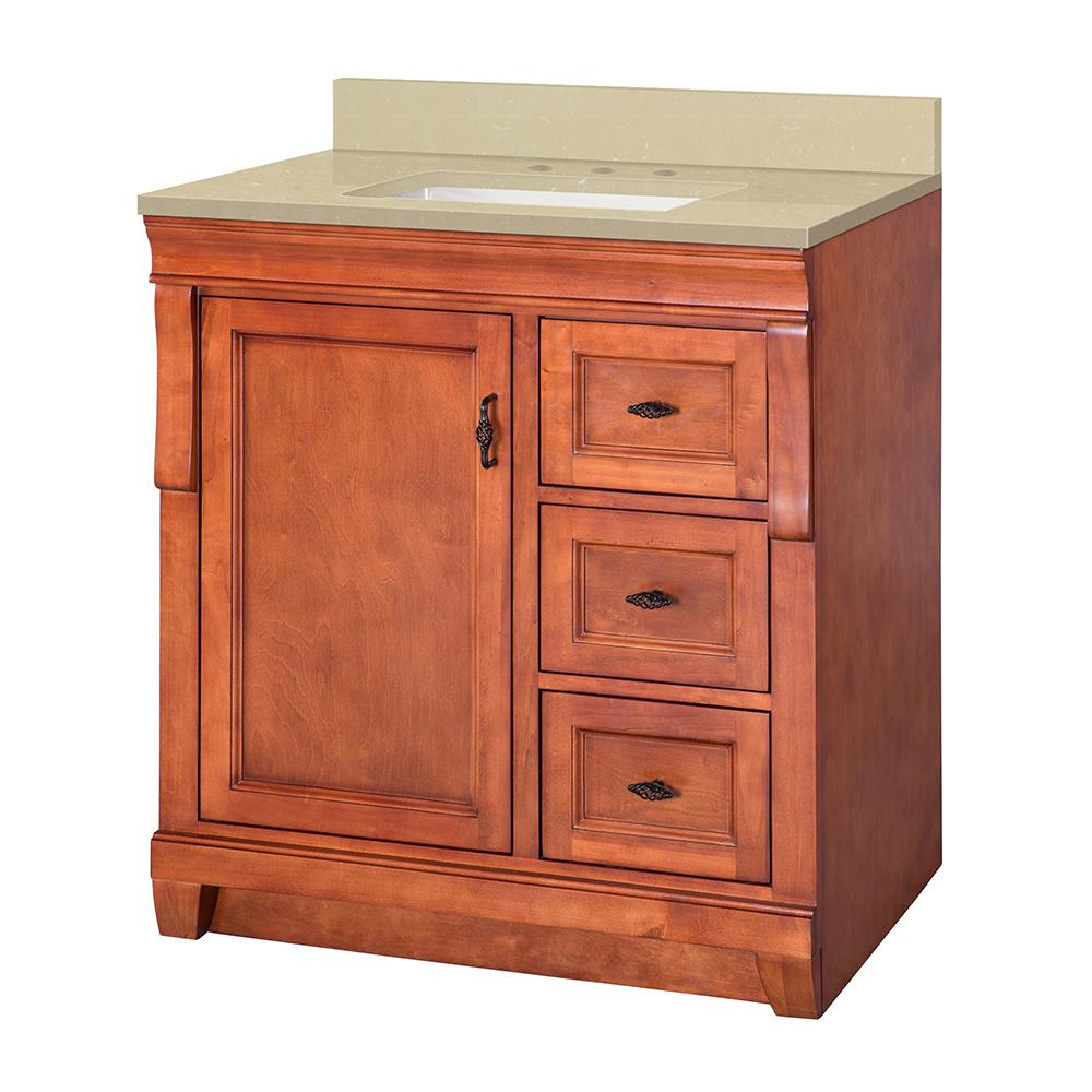 Home Decorators Collection Naples 31 in. W x 22 in. D Vanity in Warm Cinnamon with Engineered Marble Vanity Top in Crema Limestone with White Sink