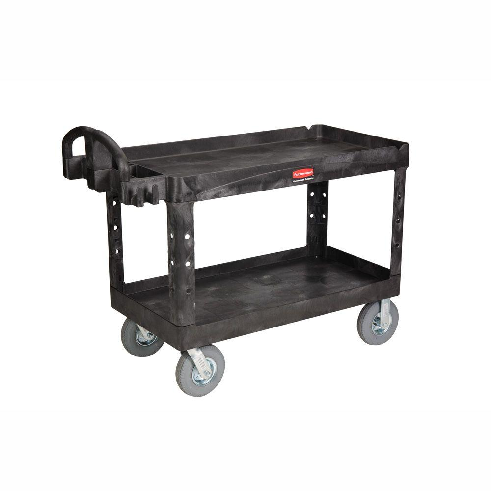 Go Home Black Industrial Kitchen Cart At Lowes Com: Rubbermaid Commercial Products Heavy Duty Black 2-Shelf