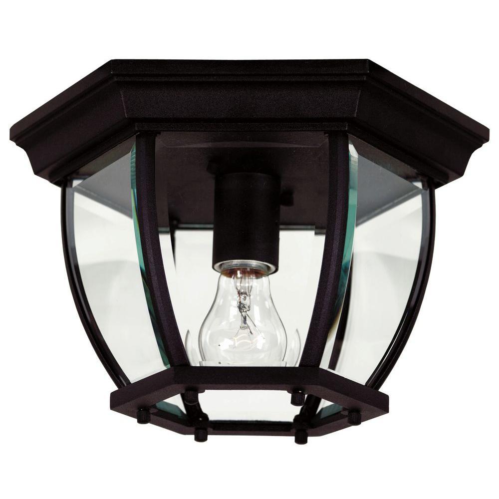 dural 1 light high black flushmount 16277bl the home depot. Black Bedroom Furniture Sets. Home Design Ideas