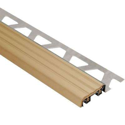 Trep-SE Stainless Steel with Light Beige Insert 5/16 in. x 8 ft. 2-1/2 in. Metal Stair Nose Tile Edging Trim