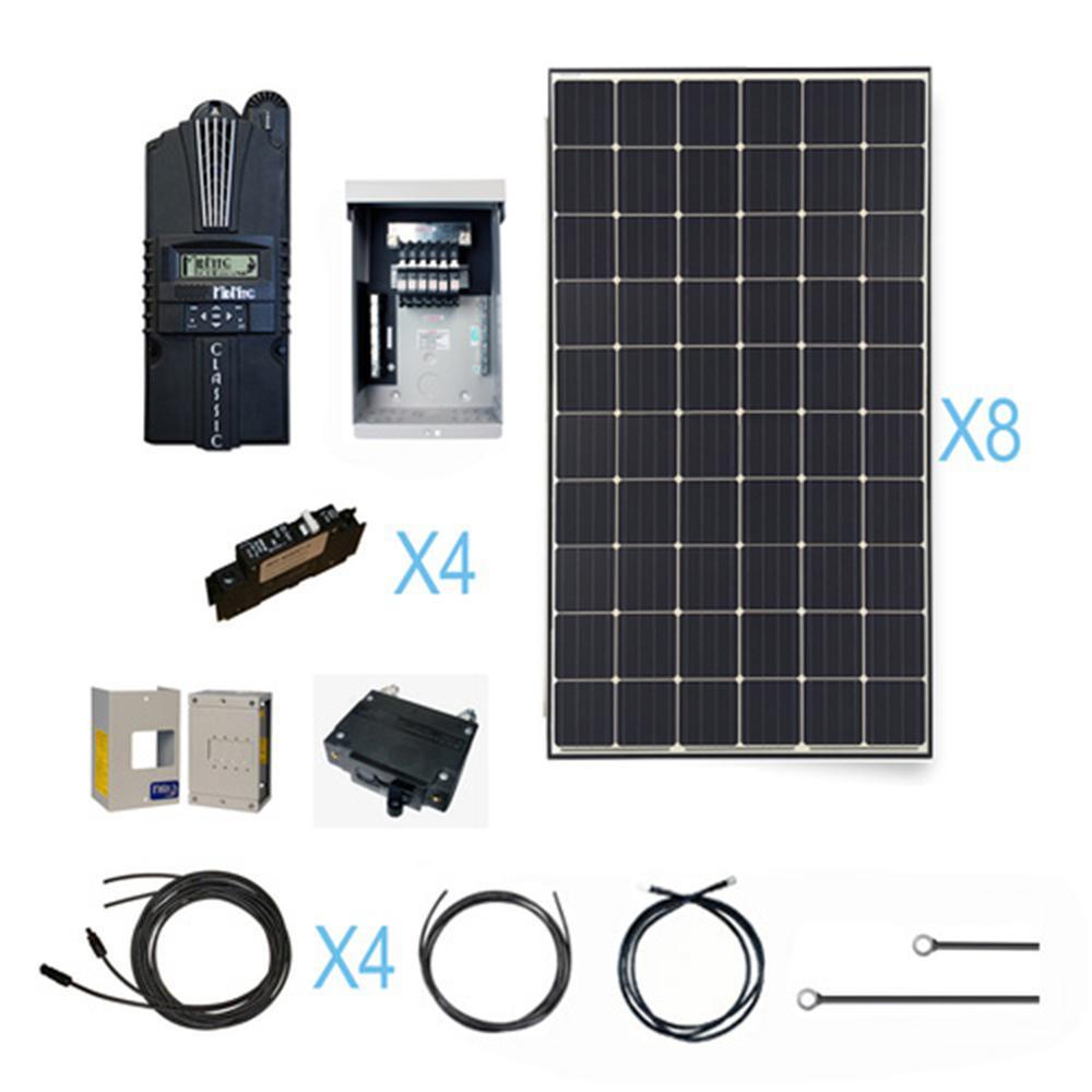 2400-Watt 12-Volt Monocrystalline Solar Cabin Kit 12/24/48-Volt for Off-Grid Solar System