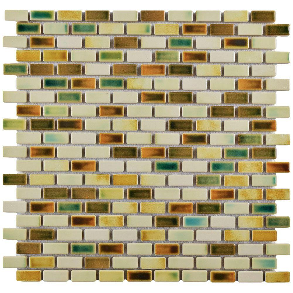 Merola Tile Rustica Subway Springfield 11-3/4 in. x 11-3/4 in. x 8 mm Porcelain Mosaic Tile