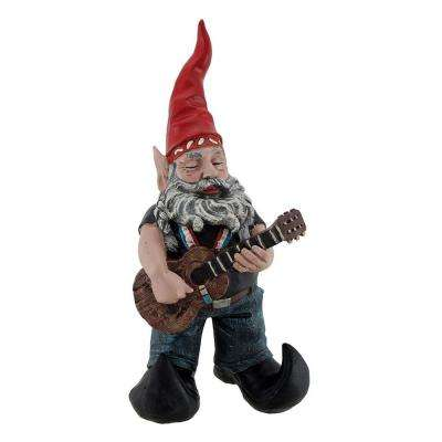 14.5 in. H Willie Elfson the Country Star Gnome Pickin' On His Old Guitar Home and Garden Gnome Statue