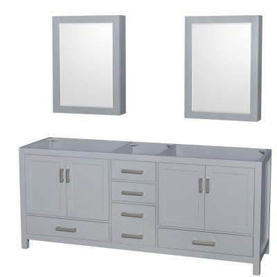 Sheffield 80 in. Vanity Cabinet with Medicine Cabinet Mirrors in Gray