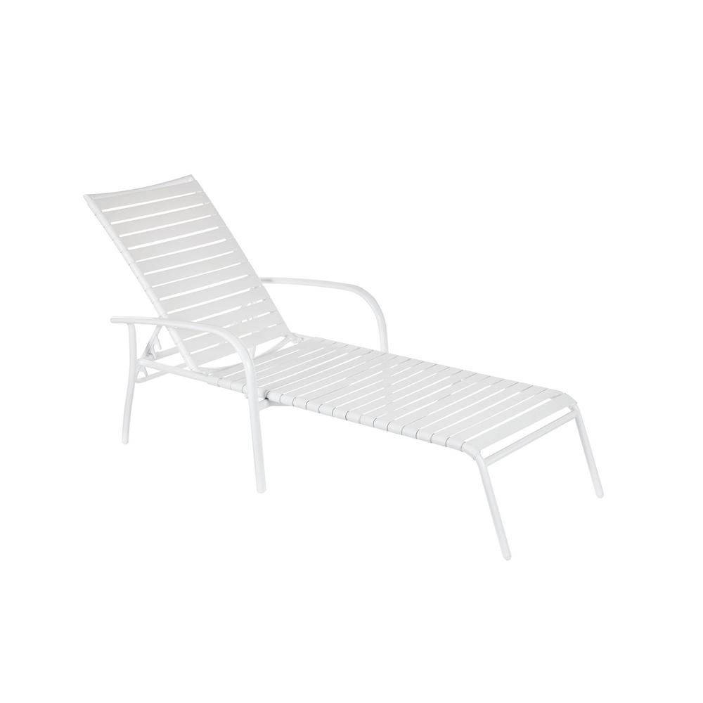 Hampton Bay Commercial Aluminum White Strap Outdoor Chaise Lounge (4-Pack)