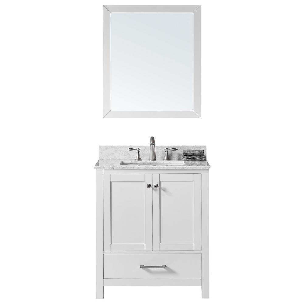 Exclusive Heritage Colette 30 in. W x 22 in. D x 34.2 in. H Bath Vanity in White w/ Marble Vanity Top in White w/ White Basin and Mirror