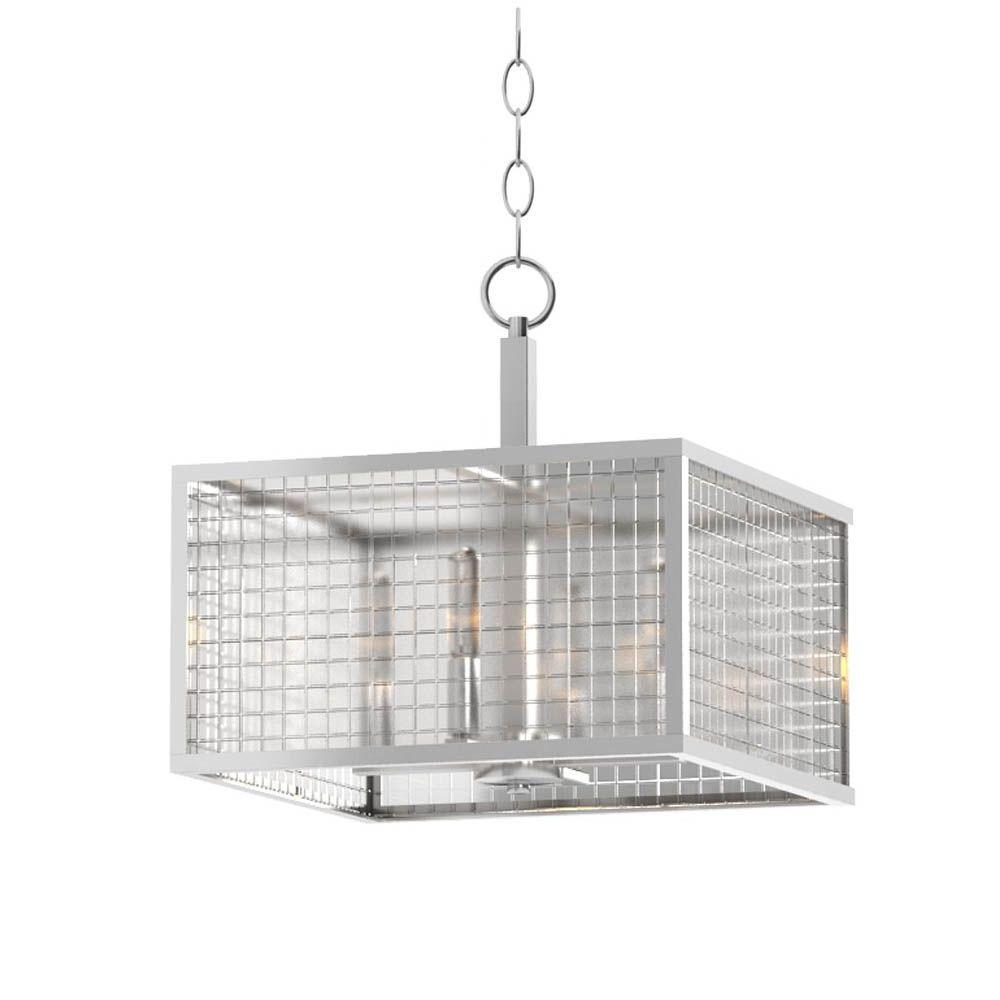 Home Decorators Collection 4-Light Brushed Nickel Pendant with Etched Clear Glass Shades