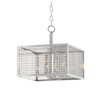 4-Light Brushed Nickel Pendant with Etched Clear Glass Shades