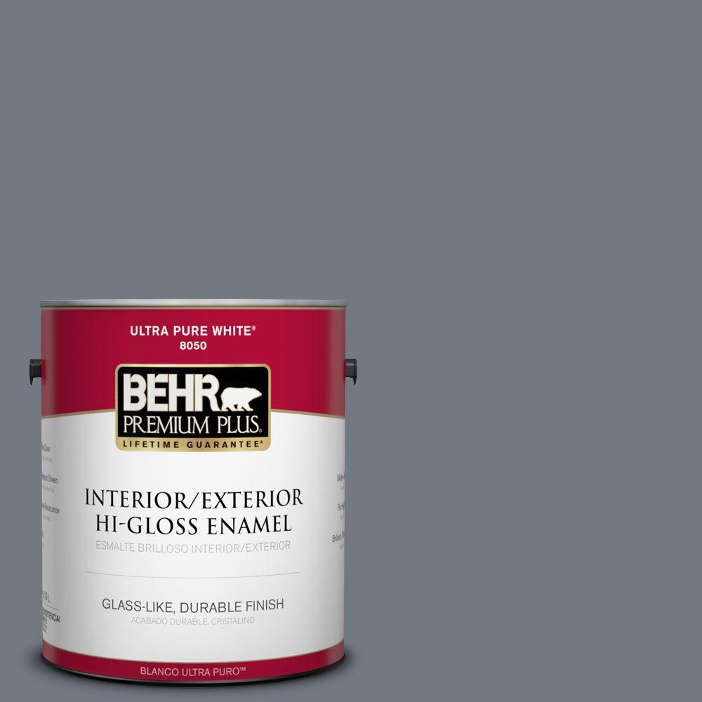 BEHR Premium Plus 1-gal. #PPF-38 Deep Shale Hi-Gloss Enamel Interior/Exterior Paint