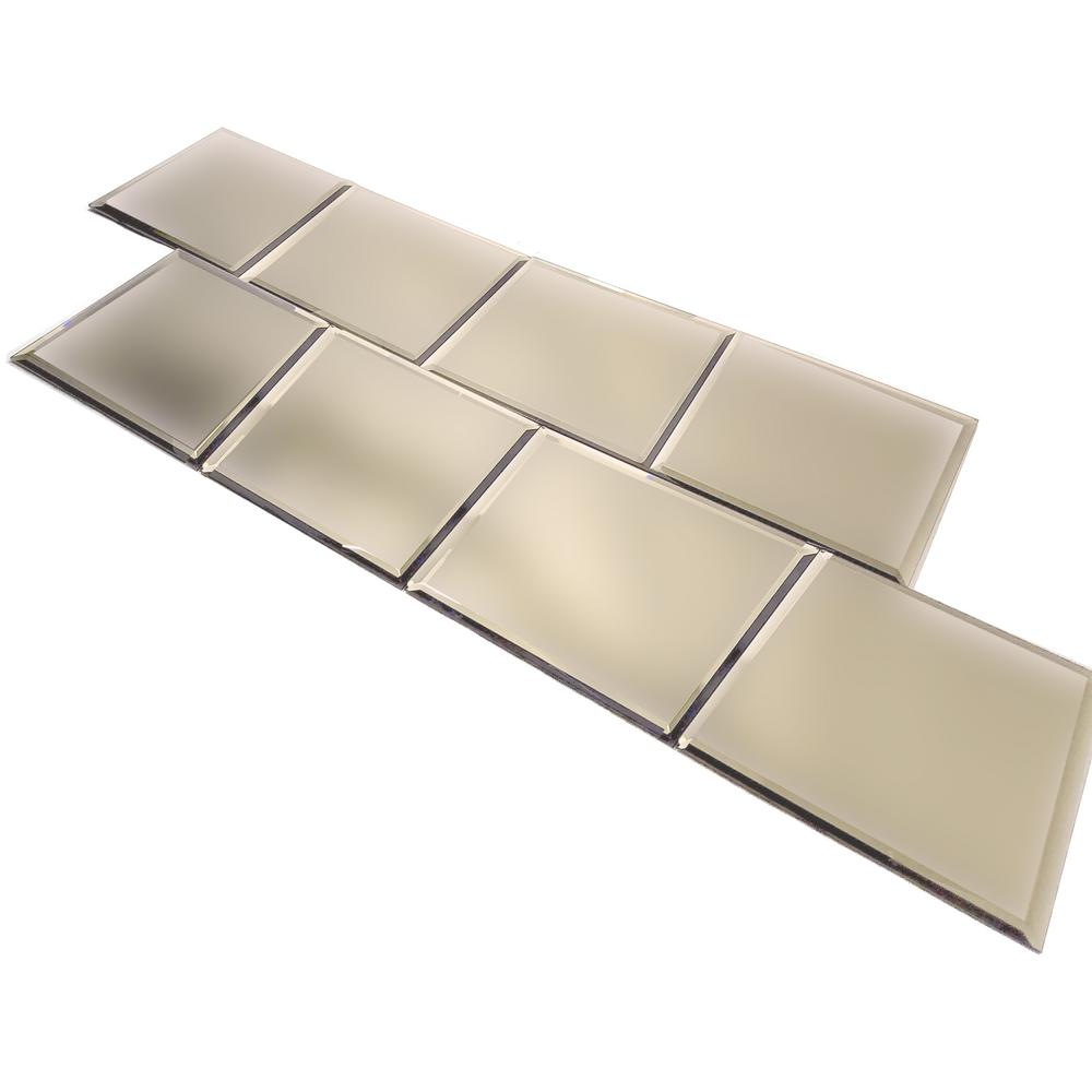 Plain Edge Mirror Tiles 6 Pack 901010 The Home Depot