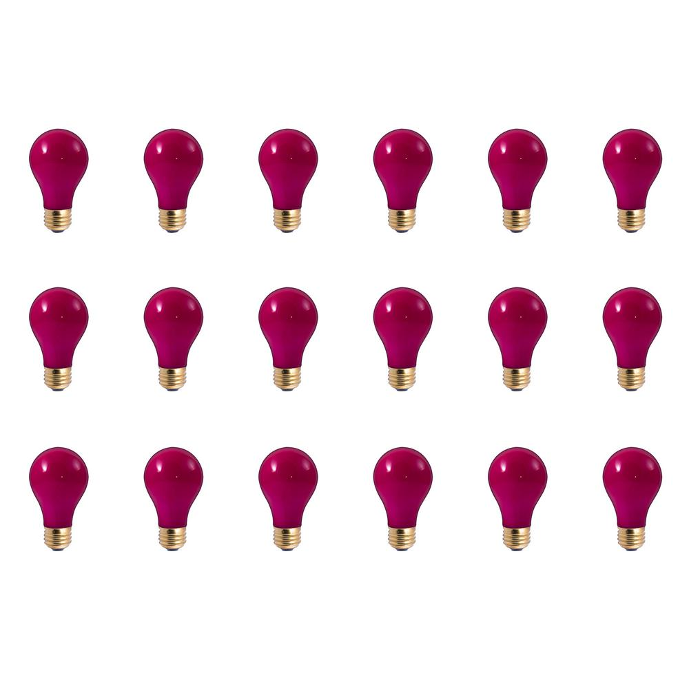 25-Watt A19 Ceramic Pink Dimmable Incandescent Light Bulb (18-Pack)
