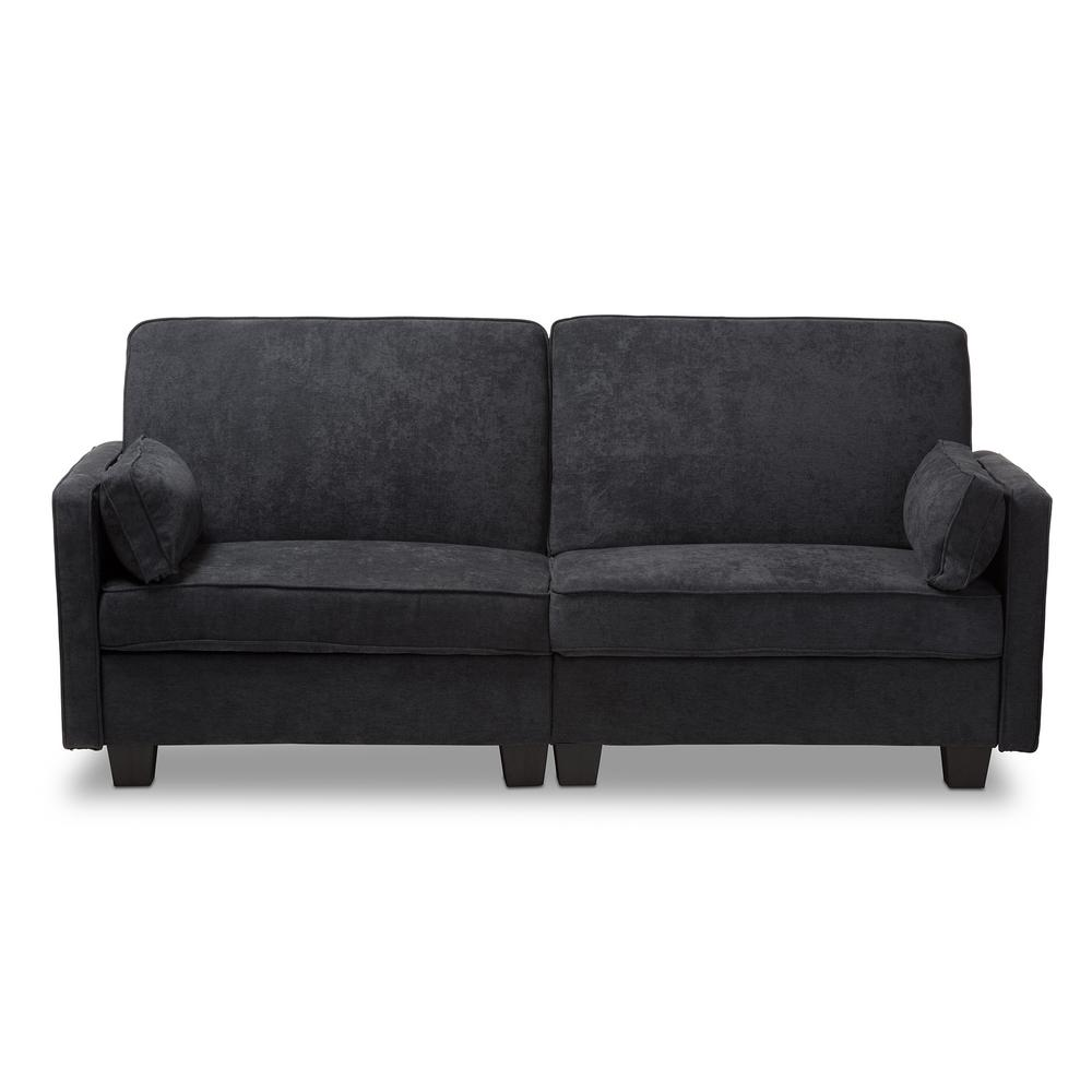 Felicity 82.7 in. Dark Gray Polyester 3-Seater Twin Sleeper Sofa Bed with Square Arms