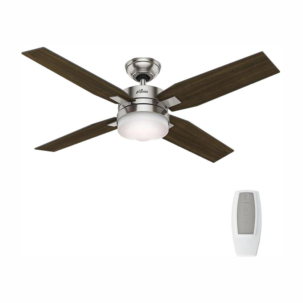 Hunter Mercado 50 in. LED Indoor Brushed Nickel Ceiling Fan with Light and Universal Remote