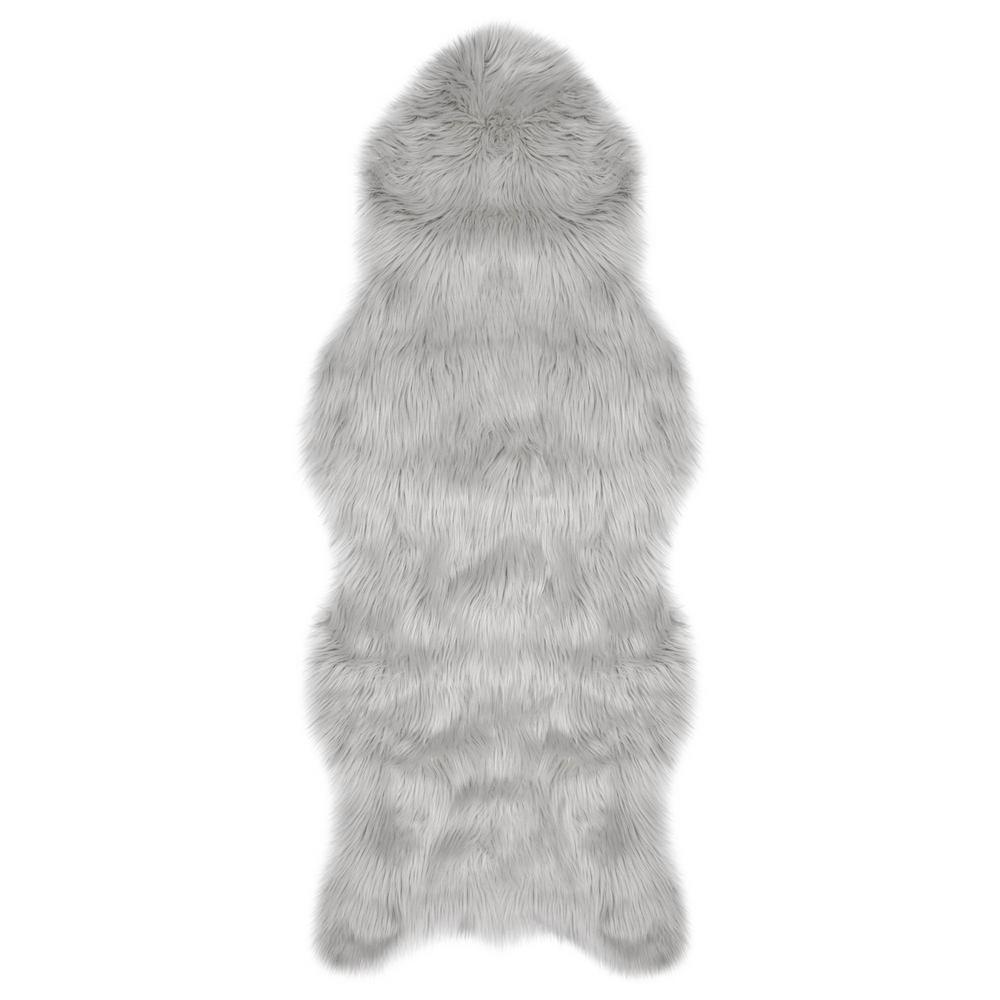 Jean Pierre Faux-Fur Light Grey 5 Ft. X 1 Ft. 10 In. Area