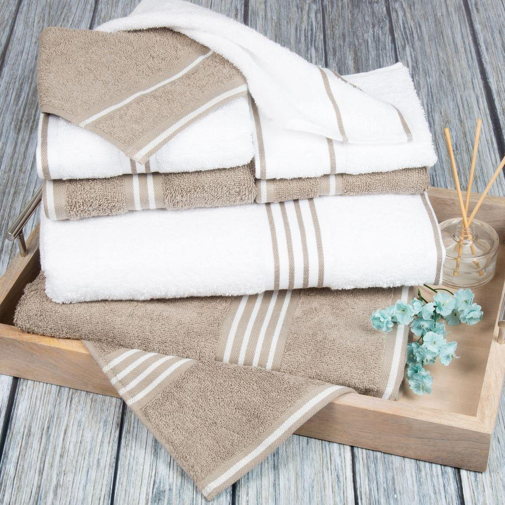 Rio Egyptian Cotton Towel Set in White and Taupe (8-Piece)
