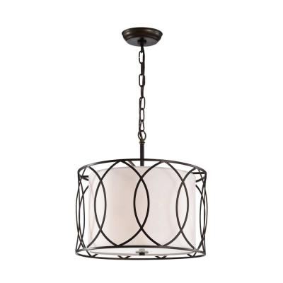 Gisnao 19 in. 3-Light Indoor White Finish Pendant Lamp with Light Kit