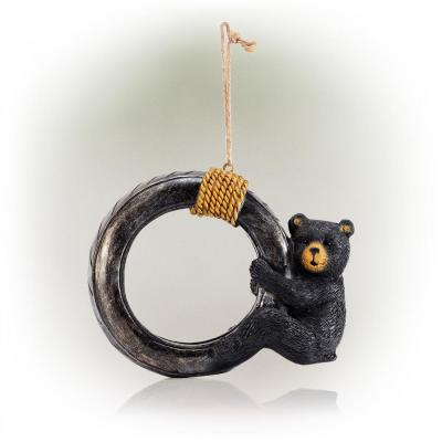 Tire Swing Bird Feeder with Black Bear Cub and Rope