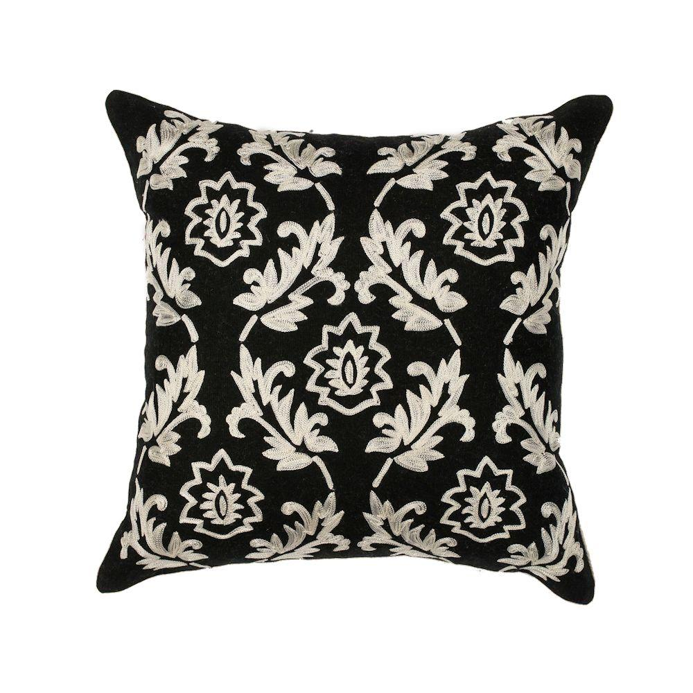 Floral Scape Black/White Decorative Pillow