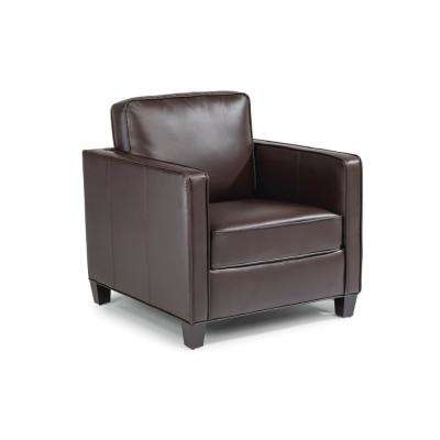 Bradley Brown Faux Leather Club Chair and Ottoman