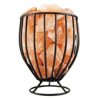 Himalayan Natural Salt 7.5 in. Pink Air Purifying Oval Style Basket Lamp with Salt Chunks, Bulb and Electric Wire