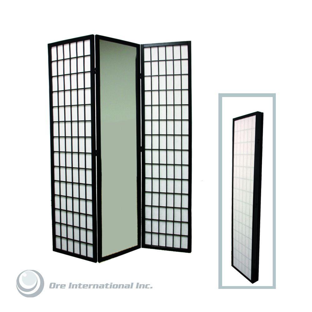 5.85 ft. Black 3-Panel Room Divider
