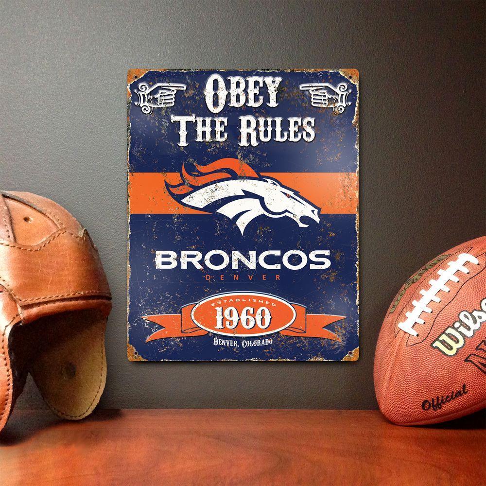 14.5 in. H x 11.5 in. D Heavy Duty Steel Denver Broncos Embossed Metal Sign Wall Art