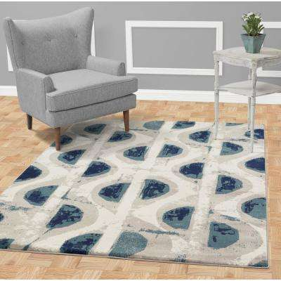 Jasmin Collection Abstract Circles Design Ivory and Navy 8 ft. x 10 ft. Area Rug