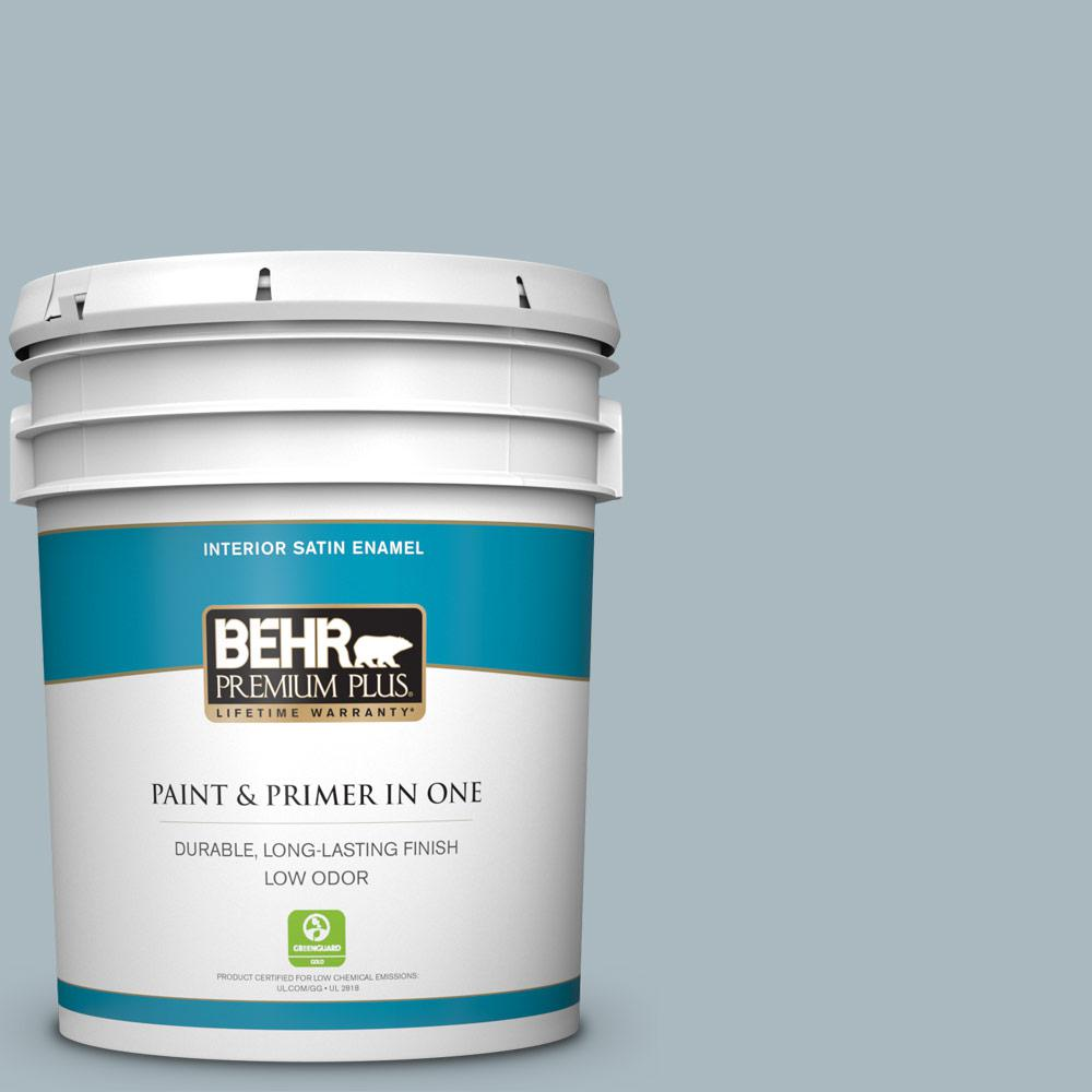 Behr Premium Plus 5 Gal 740e 3 Prelude Satin Enamel Low Odor Interior Paint And Primer In One 740005 The Home Depot