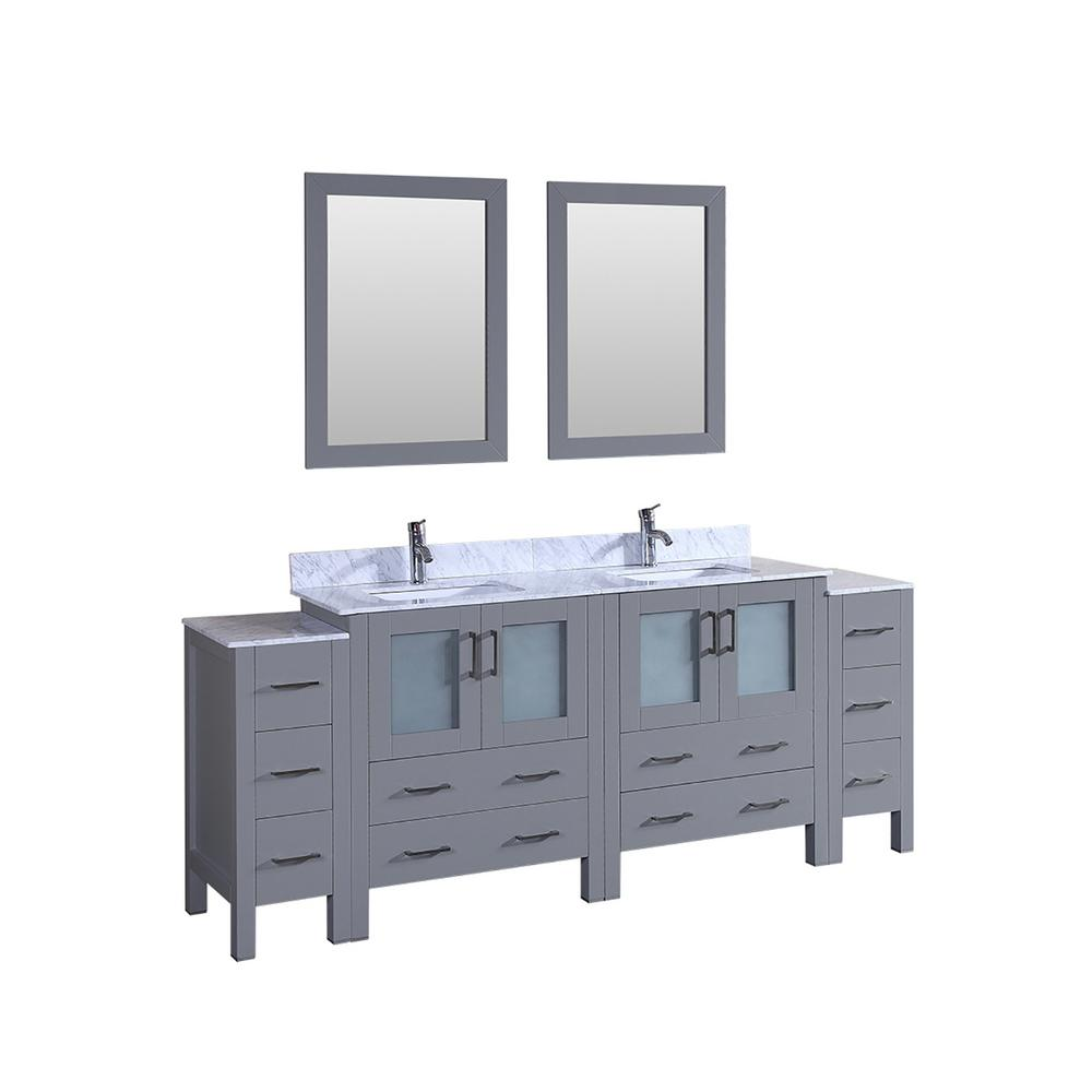 Bosconi 84 in. Double Vanity in Gray with Carrara Marble Vanity Top in Gray with White Basin Polished Chrome Faucet and Mirror