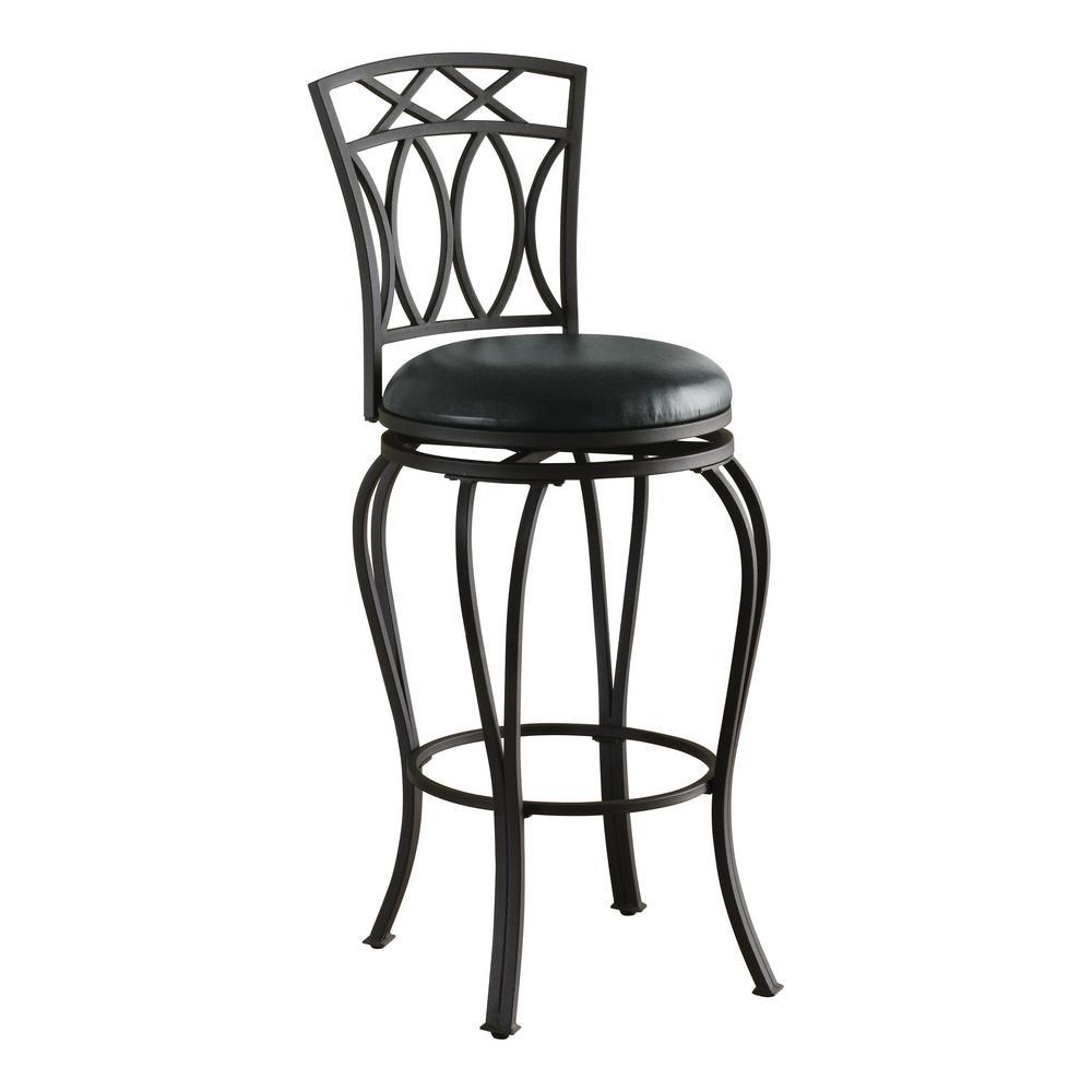 "29"" Elegant Metal Bar Stool with Faux Leather Seat Black"