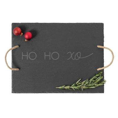 ho ho xo black slate serving tray - Red And Green Christmas Table Decorations