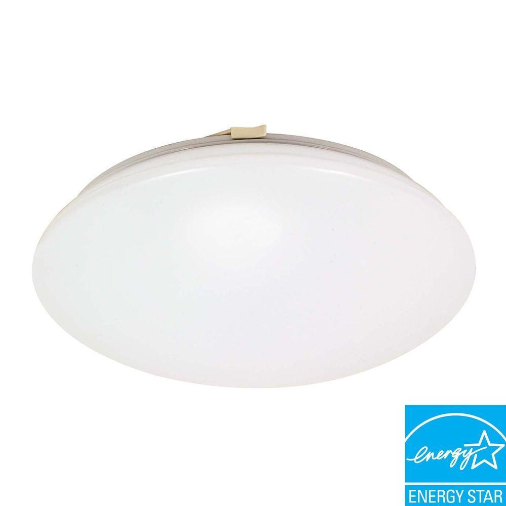 1-Light White Fluorescent Flush Mount