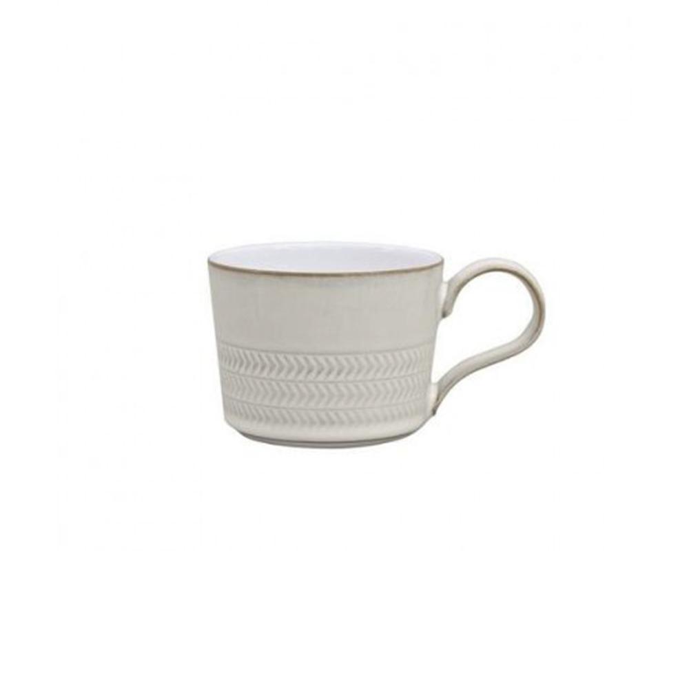 Natural Canvas 7.5 oz. White Stoneware Textured Tea/Coffee Cup