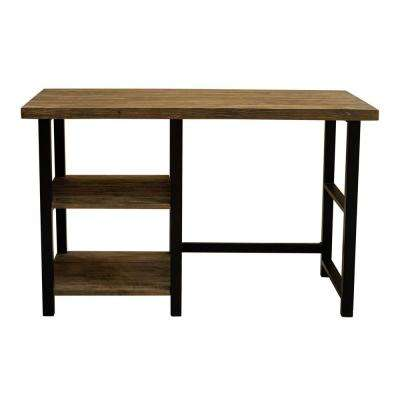 Pomona 48 in. W Natural Metal and Solid Wood Desk with 2-Shelves