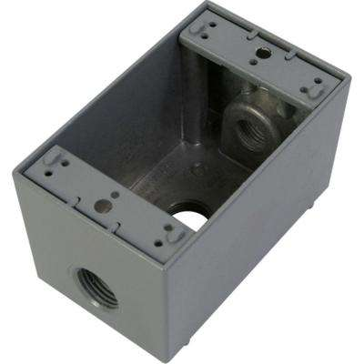 1 Gang Weatherproof Deep Electric Outlet Box with Three 1/2 in. Holes - Gray