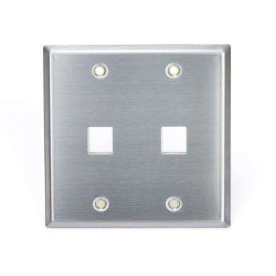 2-Gang QuickPort Standard Size 2-Port Wallplate, Stainless Steel