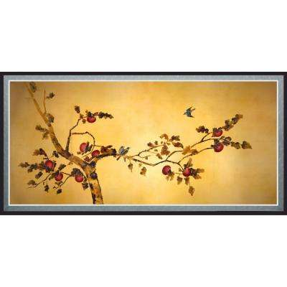 "Oriental Furniture 18 in. x 35 in. ""Birds on Plum Tree"" Canvas Wall Art"