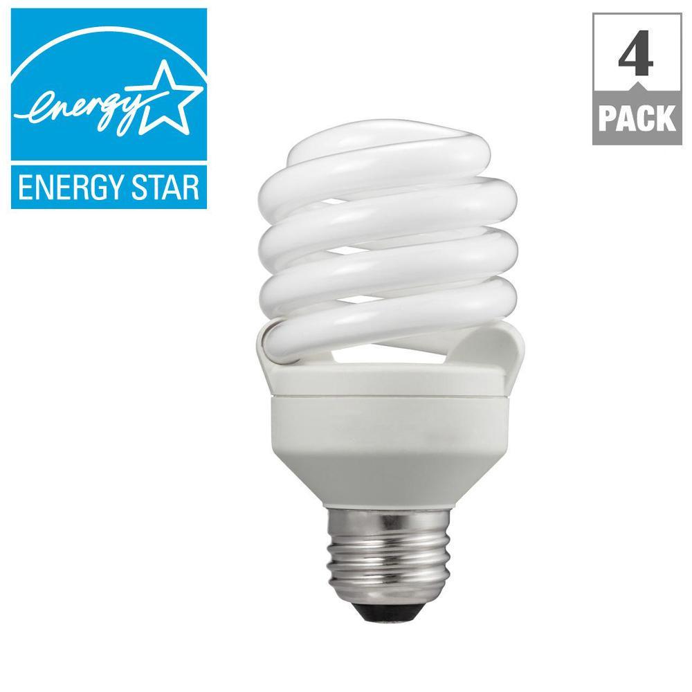 Philips 75W Equivalent Soft White T2 Spiral CFL Light Bulb (4-Pack) (E*)